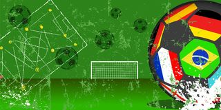 Soccer ball with flags of top national teams. And goal, football, soccer grungy style vector illustration or template. Free copy space Royalty Free Stock Images