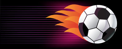 Soccer ball with flame. Royalty Free Stock Image