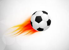 Soccer ball with flame. Abstract bright illustration Stock Photos