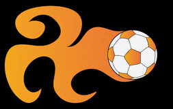 Soccer ball in flame on a black background Stock Photos