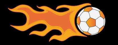 Soccer ball in flame on a black background Royalty Free Stock Image