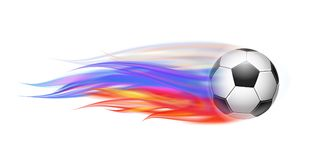 Soccer ball with flame trail of Russian Flag. Flying football on fire. Soccer ball with bright flame three colors trail of Russian Flag. Vector Illustration Royalty Free Stock Photo