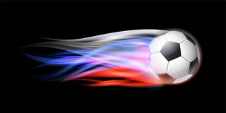 Soccer ball with flame trail of Russian Flag. Flying football on fire. Soccer ball with bright flame three colors trail of Russian Flag. Vector Illustration On Royalty Free Stock Image