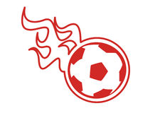 Soccer ball with flames Stock Photos
