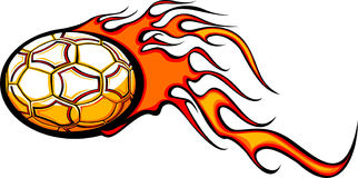 Soccer ball with flames. Illustration of soccer or football with orange flames, isolated on white background Stock Images