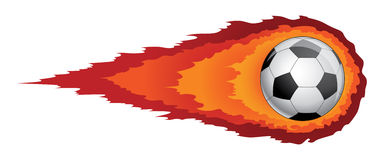 Soccer Ball With Flames. Illustration of a soccer ball or football with flames or fire trailing behind it. Reminiscent of a comet Stock Images