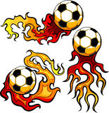 Soccer Ball Flaming Design Template. Flaming Soccer Ball burning with Fire Flames Stock Images