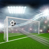 Soccer ball flies into goal Royalty Free Stock Photography
