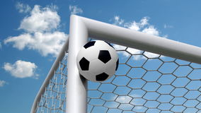 Soccer ball flies in the goal Royalty Free Stock Image