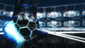 Soccer ball floating in space to goal with neon shot effect 3d illustration Royalty Free Stock Photos