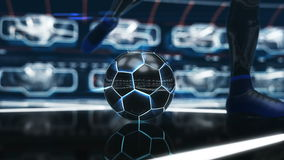 Soccer ball floating in space to goal with neon shot effect 3d illustration Stock Photo