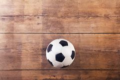 Soccer ball on the floor Royalty Free Stock Photo
