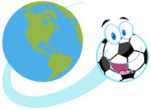 Soccer ball fly around the globe Royalty Free Stock Image