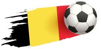 Soccer ball fly background of Belgian flag. Vector icon illustration stock illustration