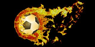 Soccer ball fly in dotty fire. Vector illustration. Soccer ball fly in dotty fire on black . Vector n illustration Royalty Free Stock Photos