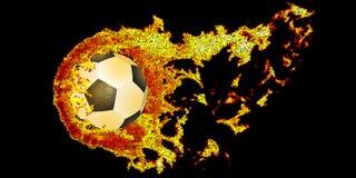 Soccer ball fly in dotty fire. Vector illustration. Soccer ball fly in dotty fire on black . Vector n illustration royalty free illustration