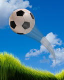 Soccer ball flying. Stock Image