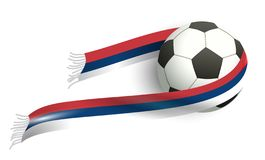 Soccer ball flying and scarf Serbian fan flag vector illustration
