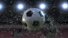 Soccer ball flying through water drops slow motion 4k vector illustration