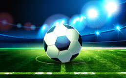 Soccer ball and Football Arena 2018. Soccer ball and Football Arena. Night background football field stadium and fans 2018 soccer championship Royalty Free Stock Image