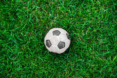 Soccer ball or football ball on green field Stock Image