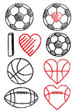 Soccer ball, football and basketball, vector set Royalty Free Stock Photo