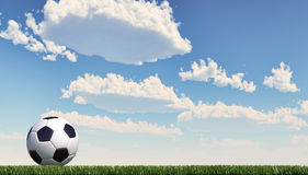 Soccer ball/football close-up on grass lawn. Panoramic format. Stock Photo