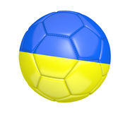 soccer ball, or football, with the country flag of Ukraine. Rendered in 3D on a white background Royalty Free Stock Photography