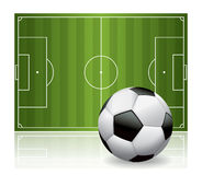 Soccer Ball Football and Field  Illustration Stock Image