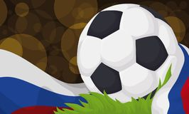 Soccer Ball in a Football Field During Night Soccer Match, Vector Illustration. Banner with a soccer ball over the grass of the field and wrapped with Russian Stock Image