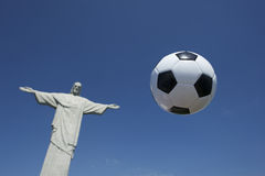 Soccer Ball Football Floats at Corcovado Rio Stock Photo