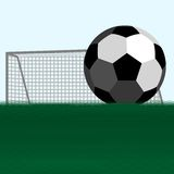 Soccer ball and football goals Stock Images