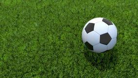 Soccer ball football on grass. 3D Soccer ball football on grass Royalty Free Stock Photography