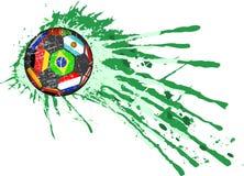 Soccer ball / football illustration, national flags. Soccer ball / football with national flags of top soccer teams grungy style vector Stock Photos