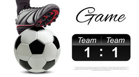 Soccer ball with football player feet on it abd scoreboard Stock Photo