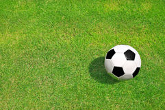 Soccer ball. On football playground Stock Photo