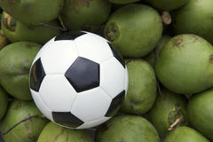 Soccer Ball Football Resting with Fresh Green Coconuts Stock Image