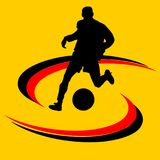 Soccer ball or football and silhouette of a soccer player. Graphic, white background Stock Photography