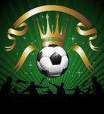 Soccer ball (football) with silhouettes of fans Royalty Free Stock Image