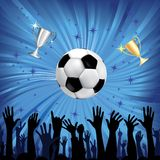 Soccer ball for football sport. Soccer ball and champion cup for football sport with fan hands silhouettes. Vector illustration. Element for design Stock Photography