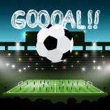 Soccer Ball on Football Stadium with Goooal!! Title. Goal Vector Symbol. Soccer Ball on Football Stadium with Goooal!! title. Goal Vector Sport Symbol royalty free illustration
