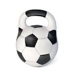 Soccer ball in form of hard weight. 3d-illustration on white background Royalty Free Stock Photo