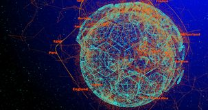 Soccer ball in the form of a planet in space, alpha chanel.  stock footage