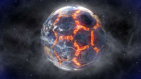 Soccer ball in the form of a planet in space,, maps and textures provided by NASA,. Soccer ball in the form of a planet in space,, maps and textures provided by stock footage