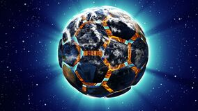 Soccer ball in the form of a planet in space,, maps and textures provided by NASA,. Soccer ball in the form of a planet in space,, maps and textures provided by stock video footage