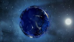 Soccer ball in the form of a planet in space,, maps and textures provided by NASA,. Soccer ball in the form of a planet in space,, maps and textures provided by Royalty Free Illustration