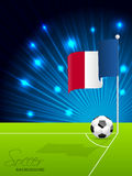 Soccer ball and french flag. In field corner Stock Images