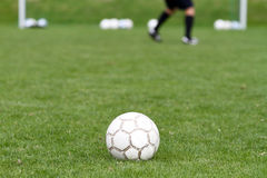 Soccer ball in front of goal Royalty Free Stock Images