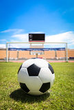 A soccer ball in front of goal. On the grass Royalty Free Stock Images