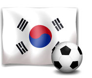 A soccer ball in front of the Korean flag Royalty Free Stock Photos